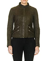 Oakwood Women's Maniac Jacket Women's Khaki Leather Jacket 100% Leather
