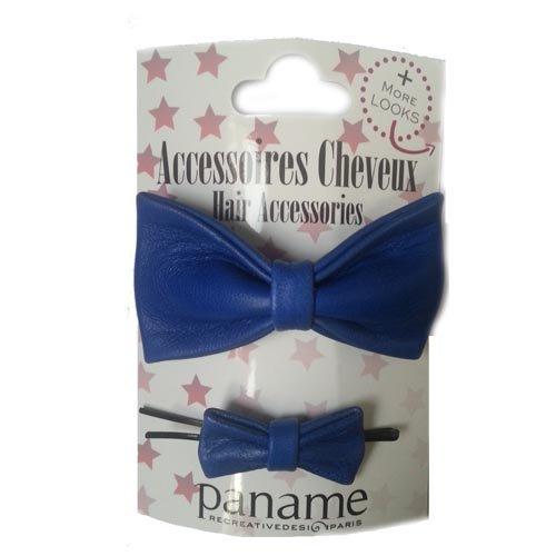paname-paris-clip-per-capelli-con-fiocco-in-cuoio-confezione-da-2-colore-blu