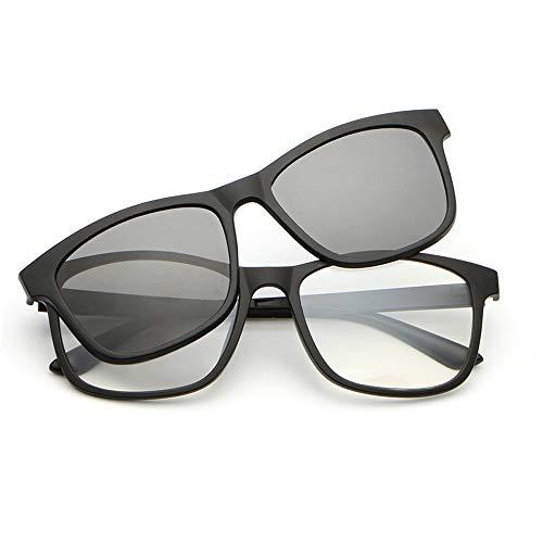 Herren Sonnenbrillen Polarisierte Sonnenbrille Spiegelbrille Magnet Sonnenbrille Magnetclips Nachtsichtbrille LTJHJD (Color : Grau, Size : Kostenlos)