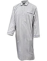 Lloyd Attree & Smith Men's Luxury Cotton Nightshirt - Navy & Olive Green Striped