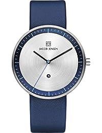 Jacob Jensen Unisex-reloj analógico de cuarzo cuero 272 Strata Series