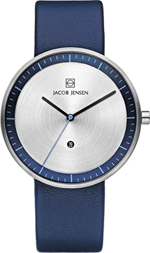 Jacob Jensen Strata Men's Quartz Watch with Silver Dial Analogue Display and Blue Leather Strap 272
