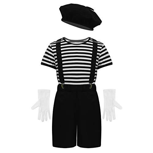 Kinder Kostüm Mime - iiniim Jungen Mädchen Französisch Mime Artist Kostüm Streifen T-Shirt mit Baskenmütze Handschuhe Hosenträger Pantomime Kostüm Outfits Schwarz 122-128/7-8 Jahre