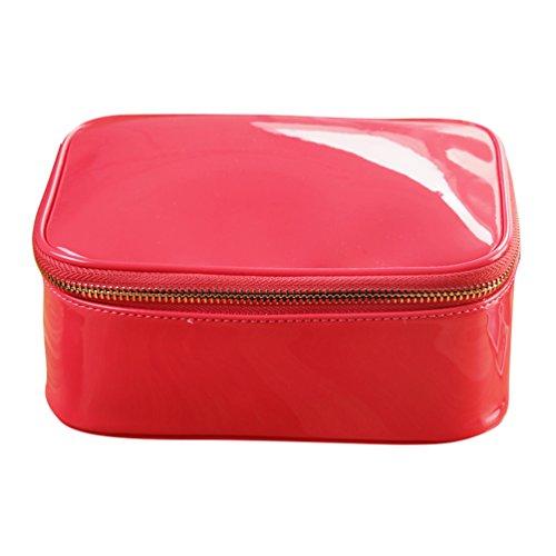 Yuanu Multifuncional Gran Capacidad PU Bolso De Almacenamiento Portátil Durable Impermeable Viaje Neceser De Maquillaje Sandía Rojo 19 * 8 * 14.5 cm