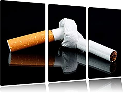 Cigarette avec des noeuds ne fument pas 3-piece Canvas Art 120x80 image on canvas, XXL huge Pictures completely framed with stretcher, Art print on wall picture with frame, gänstiger as a painting or an oil painting, not a poster or banner