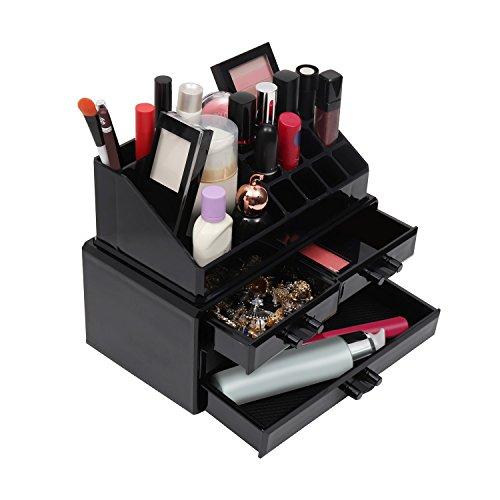Kurtzy Make-up Aufbewahrungsbox 17 Sektionen Acryl-Kunststoff-Kosmetik-Organizer für Make-up, Lidschatten, Lippenstift, Schmuck und kleine Gegenstände - 4 Schubladen Display-Ständer (Schwarz) - Lange Tragen Matte Lippenstifte