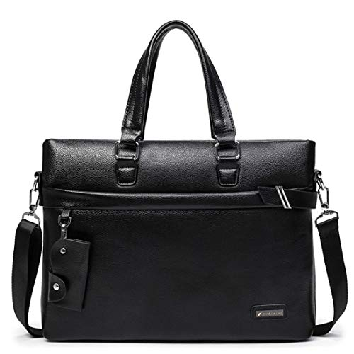 "FELICIGG Herren Reißverschluss PU Leder Messenger Bag 13 ""Laptop Aktentasche Satchel Schulter Handtasche Bookbag w Strap (Color : Black)"