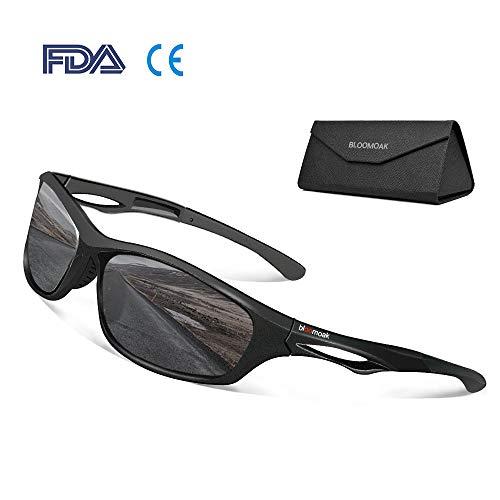 Beste polarisierte Sport-Sonnenbrille von Bloomoak - für Herren & Damen / cooler Schwarz / UV-Schutz / unzerbrechlicher TR90-Rahmen - geeignet für Fahren / Laufen / Radfahren / Angeln / Golf