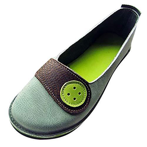 Damen Sommer Sandalen Halbschuhe Bootsschuhe Loafers Fahren Flache Schuhe Slippers Erbsenschuhe Low-top Schuhe Vintage Komfort Arbeitsschuhe (EU:40, Grün) -