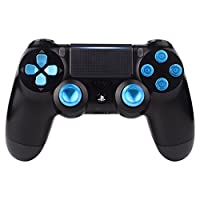 eXtremeRate® Metal Blue Thumbsticks & Bullet Buttons & D-pad Replacements Kits pour PlayStation 4 / DualShock 4 / PS4 Slim / PS4 Pro Controller