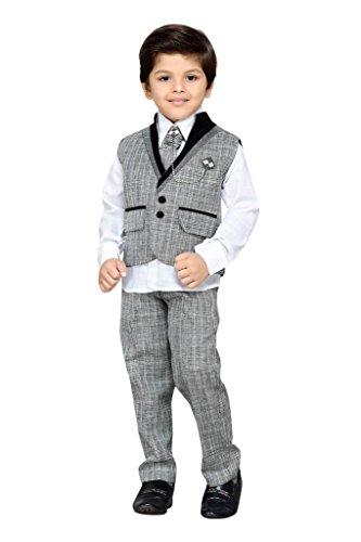 AJ Dezines Kids Party Wear Suit Set for Boys (152_GREY_16)