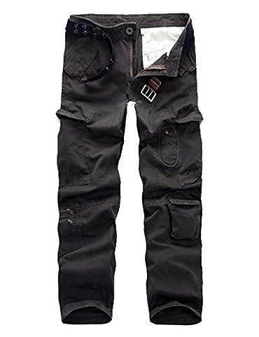 Menschwear Herren Cargo Hosen Freizeit Multi-Taschen Military pantaloni Ripstop Cargo da uomo 010(34,Grau)