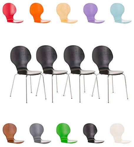 CLP 4X Stapelstuhl Diego l Ergonomisch geformter Konferenzstuhl mit Holzsitz und Metallgestell I Stapelbarer Stuhl mit pflegeleichter Sitzfläche Grau 1