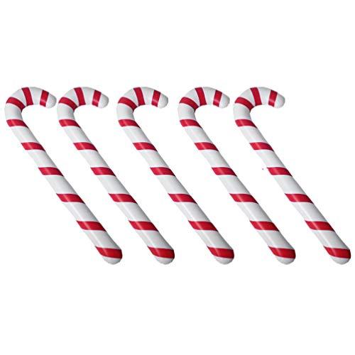 Toyvian 10 Piezas de Muletas de Navidad Globo Muletas Inflables Portátiles Forma de Bastón de Juguete Raya para Fiesta de Navidad