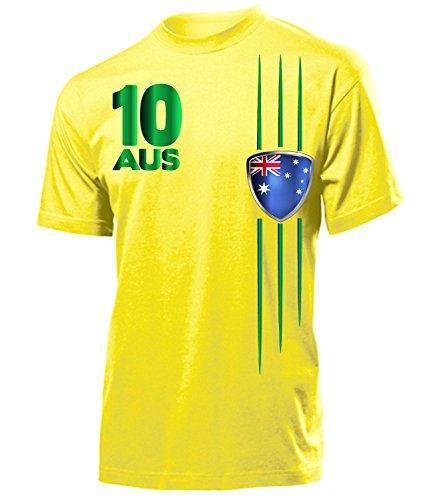 Australien Fanshirt Fan Shirt Tshirt Fanartikel Artikel Streifen 3399 Fussball Männer Herren T-Shirts Gelb XL - Australien Trikot