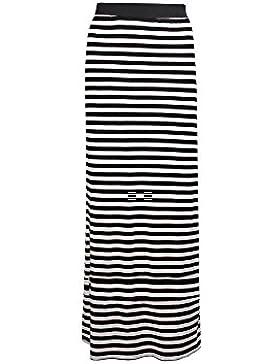 Janisramone mujeres Raya falda tela de estiramiento maxi