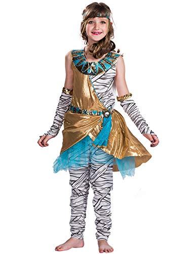 (A&J DESIGN Mädchen Ägyptisch Königin des Nils Kleopatra Kinderkostüm Karneval (Weiß, S))