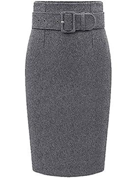 Moollyfox Mujer Cintura Alta Faldas De Tubo Fiesta Falda Delgado De Lana Gris Oscuro XXXL