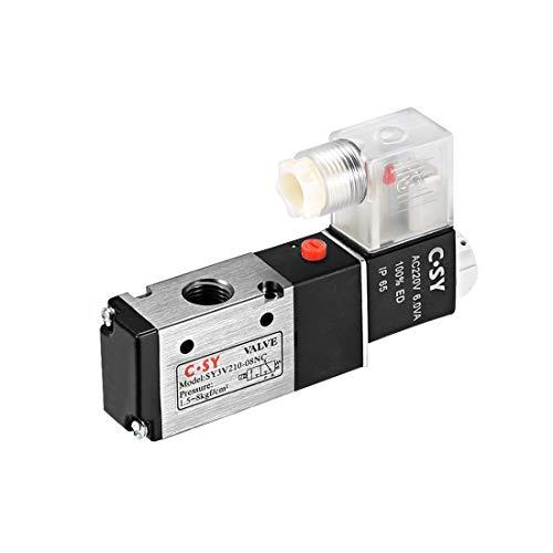 sourcing map Elektrisches Magnetventil 3V210-08 für Luftstrom AC220V 3 Wege 2 Position 1/4