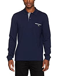 Lacoste Men's Blue Long Sleeve Polo With Gingham Details In Size 9-Xxxxl Blue