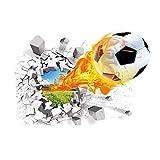 Papel de pared, Super Real 3D Fútbol Etiqueta de la pared A prueba de suciedad...