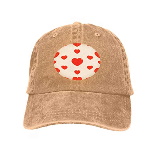 Adult Adjustable Structured Baseball Cowboy Hat Big red Heart Wrapping Paper Textile Template Happy Valentines Day Sign Symbol White Love Card Gorgeous