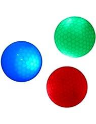 Sharplace 3 Piezas Bola de Golf Resplandor Luz Oscura Iluminar de Tamaño Oficial de Torneo
