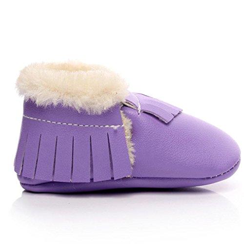 Baby Mädchen / Jungen Lauflernschuhe-Omiky® 0-18 Month Mädchen / Jungen Baumwolle Winter Baby Girl boys Kinder Schuhe Warme Schuhe Leder Lila