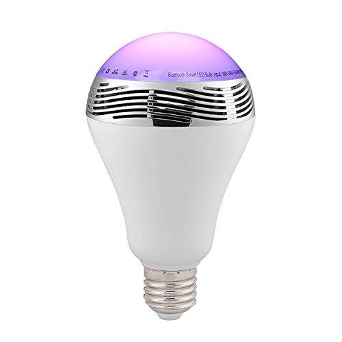 lederTEK bunte Glühlampe mit Bluetooth Lautsprecher, E27 Fassung, wechselnde Farben mit Musik, Timing-Funktion und APP-Steuerung