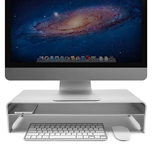 Mode Monitor Stand Riser Aluminiumlegierung Desktop Laptop Computer Erhöhen Rack Home Office Internet Cafe, Silber (Size : 50x22x13cm) -