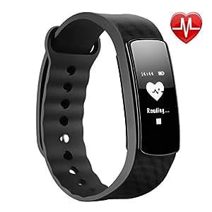 Braccialetto Intelligente, Mpow Bluetooth 4.0 IP67 Smart Bracciale Fitness Salute Tracker attività Wristband con Pedometro / Sensore per Battito Cardiaco/ Sonno Monitoraggio / Monitoraggio Calorie / Activity Tracker Compatibile per Android e iOS Smartphone