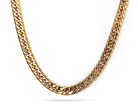 Vnox 18K Gold Plated Stainless Steel Curb Chain Necklace for Men 7.5mm,60cm