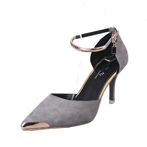 Hochhackige Sandalen Damen, DoraMe Frauen Spitz Schnalle High Heels Hochzeit Schuhe 2018 Mode Elegante Einzelne Schuhe Büro Arbeit Pumps (37, Grau) (Grau Einzelne)