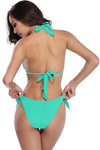 SHEKINI Damen Zweiteiler Neckholder Bikini Push up Rückenfrei Badeanzug Bademode Tankini Set Hellgrün