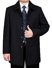 a46114382264ed HGDR Cappotto in Cashmere di Lana da Uomo Inverno Caldo Monopetto Business  Casual Trench Giacca Cappotto