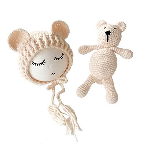 eugeborene Fotografie kostüm Gestrickte Mütze und Puppe Set Fotoshooting Requisiten Funny Bekleidung (0-2M) ()