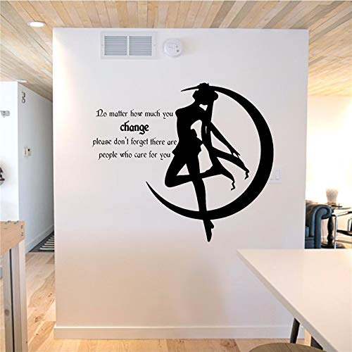 haotong11 Vinyl-Wall Decal - Aufkleber - Sailor Moon - Caring People abnehmbare Cartoon niedlich Wandtattoos Home Decor Wall StickerSchlafzimmer Wohnzimmer Wandaufkleber 58x65cm (Moon Wandtattoo Sailor)