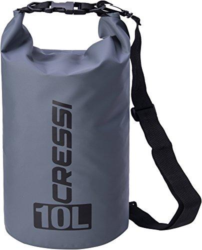 Cressi dry bag sacca stagna per attività sportive, sub, pesca, nautica, nuoto e sport acquatici, standard, 10 l, grigio