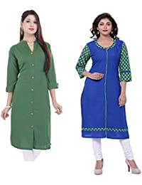 Mystique India Women's Khadi Long Kurti And Blue Cotton Kurti With Printed Sleeves Set Of 2