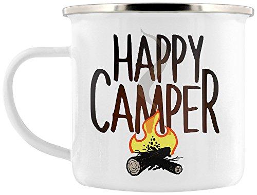 Grindstore Kaffeebecher Happy Camper weiß - Becher Camper Happy