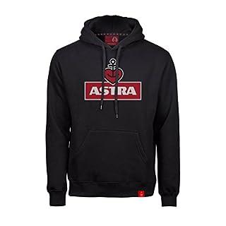 ASTRA Hoodie Herzanker Unisex Größe S, Sweater in Schwarz, sportlicher Kapuzen-Pullover mit Logo-Print auf Brust & Kapuze, Pulli für Männer & Frauen