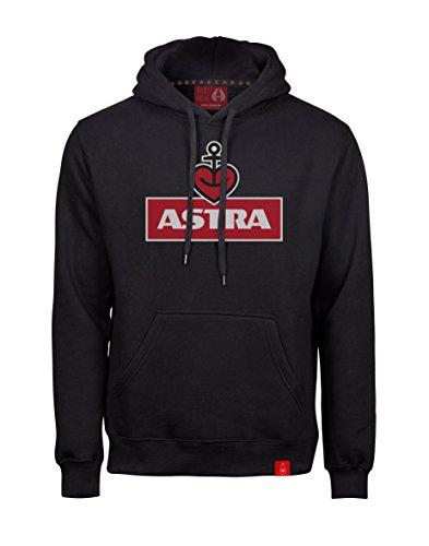 Astra Hoodie Herzanker Unisex Größe M, Sweater in Schwarz, sportlicher Kapuzen-Pullover mit Logo-Print auf Brust & Kapuze, Pulli für Männer & Frauen