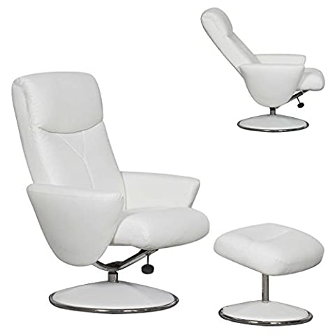 The Alizza - Leather Effect Swivel Recliner / Relaxer Chair in White