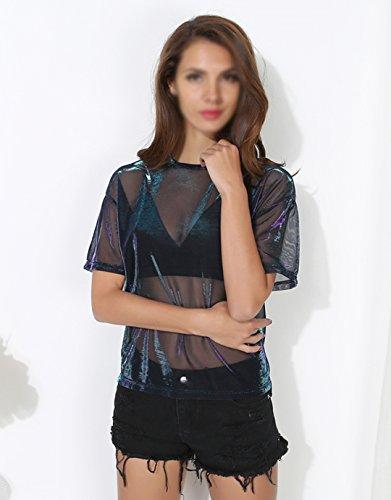 AiSi Damen Kurzarm-T-Shirt für Sommer, transparent durchsichtig Tüll, Schwarz S M L XL Schwarz L