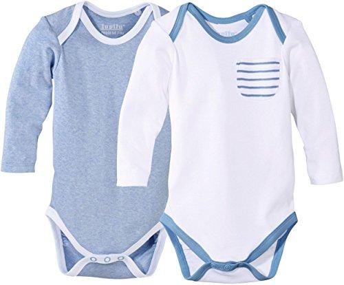 Golden Lutz LUPILU® 2 Jungen Baby Langarmbodys (blau meliert, weiß, Gr. 62/68) -
