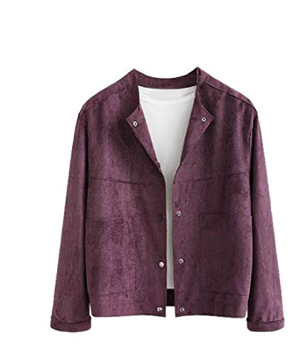 CuteRose Women Cardi Stylish Trench Coat Jacket Fitness Premium PEA Coat Purple 2XL