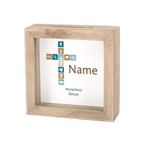 Striefchen® Spardose zur Taufe/Geburt/Kommunion/Konfirmation eines Kindes mit Namen und Geburtsdatum als Geldgeschenk Natur Kreuz Jungen