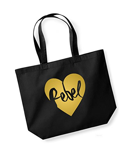 Rebel Heart - Large Canvas Fun Slogan Tote Bag Black/Gold