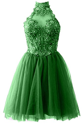 MACloth Women's High Neck Short Lace Homecoming Prom Dress Formal Party Gown Grün