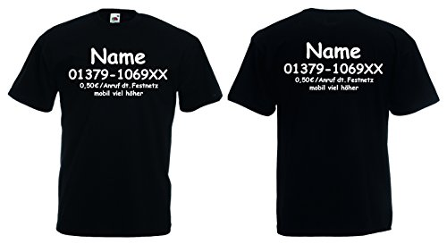 Fruit of the Loom Dschungelcamp T-Shirt inkl. Wunschname+Telefonnummer - Fruit Of The Loom Kostüm